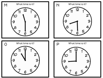 Telling Time to the Half Hour Scoot Activity - Spanish and English
