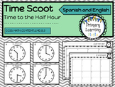 Telling Time to the Half Hour Scoot Activity - Spanish and