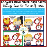 Telling Time to the Half Hour Superhero Theme Digital Game Slides
