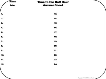 Telling Time to the Half Hour Task Cards