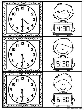 Telling Time to the Half Hour Memory Cards