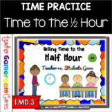Telling Time to the Half Hour - Teacher vs. Student Powerpoint Game