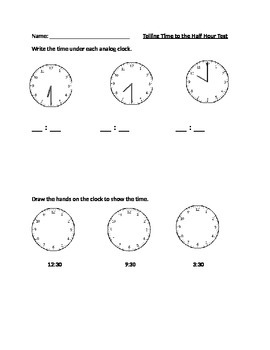 Telling Time to the Half Hour Test and Studyguide