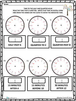 Telling Time to the Half and Quarter Hour Quick Checks