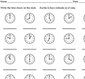 telling time to the hour 10 worksheets by sinh trinh by sinh trinh. Black Bedroom Furniture Sets. Home Design Ideas