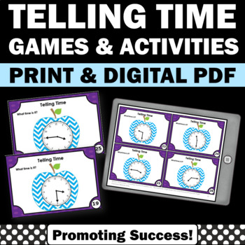 Telling Time Task Cards 1st 2nd 3rd Grade Math Centers Rev