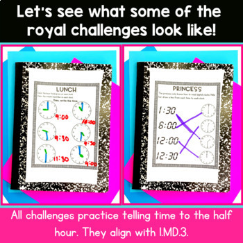 Telling Time to the Hour and Half Hour | 1st Grade Royal Room Transformation