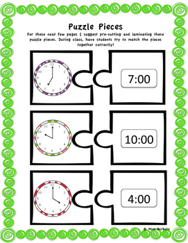 Telling Time to the Hour (Matching, Puzzles, Bingo, & MORE)