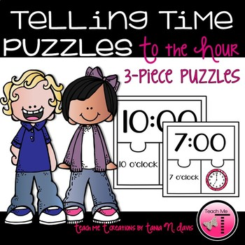 Telling Time to the Hour 3 Piece Puzzles