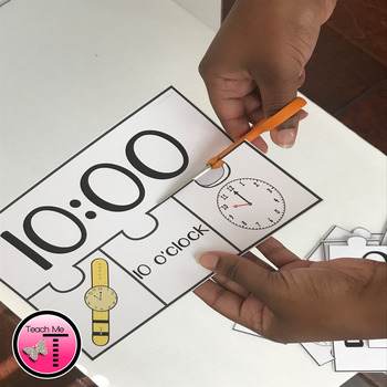 Telling Time to the Hour 4 Piece Puzzles