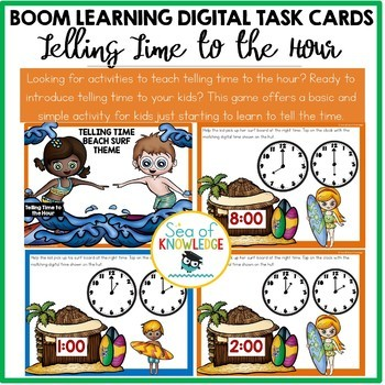 Telling Time to the Hour Beach Surf Theme Digital Game Slides