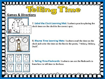 Telling Time to the Hour ~ Bundle of Math Center Activities