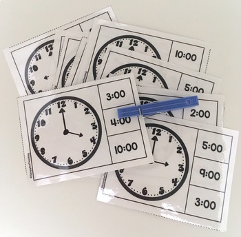 Telling Time to the Hour Clip Cards for Elementary and Special Education