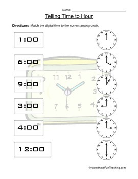Telling Time to the Hour Clock Worksheet by Have Fun Teaching | TpT