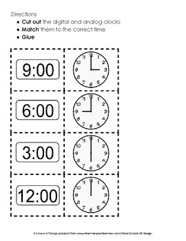 Telling Time to the Hour - Cut and Sort