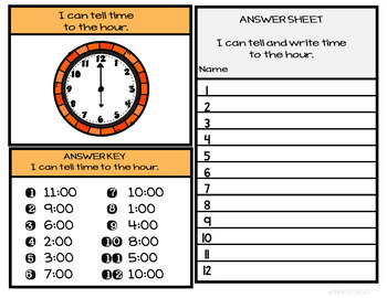 Telling Time to the Hour First Grade Freebie