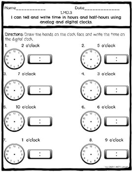 Telling Time to the Hour & Half Hour