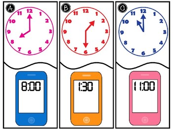 Telling Time to the Hour & Half Hour Center - GO MATH! Chapter 7
