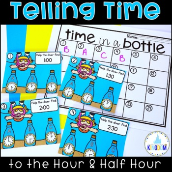 Telling Time to the Hour and Half Hour Clip Cards 1st Grade Math Center Summer