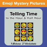 Telling Time to the Hour & Half Hour - Emoji Math Mystery