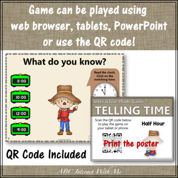 Telling Time to the Hour & Half Hour Interactive Math Game {Dancing Scarecrow}