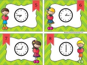 Telling Time to the Hour, Half Hour, & Quarter Hour - Fall Themed Task Cards