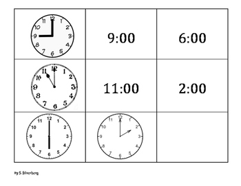 Telling Time to the Hour, Half Hour, Quarter Hour, and Five Minute- Memory Game