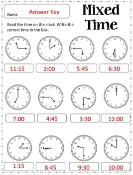 Telling Time to the Hour, Half Hour, Quarter Hour and Quarter Till Practice