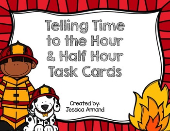 Telling Time to the Hour / Half Hour Task Cards / SCOOT and worksheet