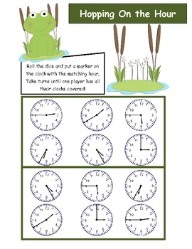 Telling Time to the Hour - Hopping on the Hour Game (differentiated)