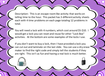 Telling Time to the Hour-Lock Box Escape Room