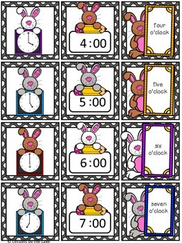 Telling Time to the Hour Matching Center