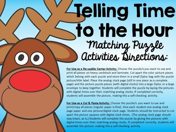 Telling Time to the Hour: Matching Puzzle Christmas Activities
