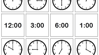 Telling Time to the Hour - Memory Game