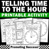 Telling Time to the Hour Worksheets, 1st Grade Telling Time Cut and Paste