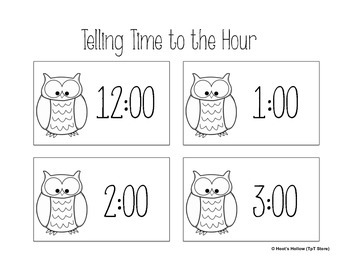 Telling Time to the Hour: Owl Themed