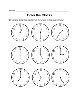 Telling Time to the Hour Practice