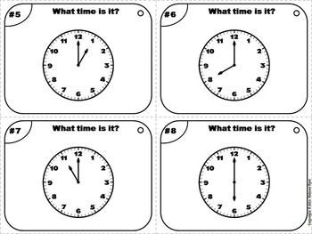 Telling Time to the Hour Task Cards/ Telling Time to the Hour Activity