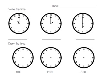Telling Time to the Hour Worksheet Set