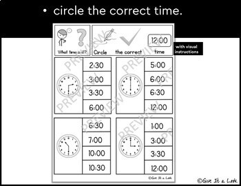 Telling Time to the Hour and Half Hour   Freebie
