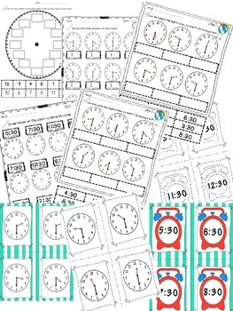 Telling Time to the Hour and Half Hour Activity Pack and Book BUNDLE