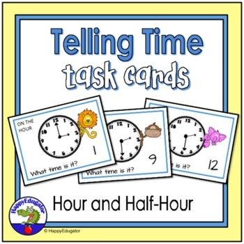 Telling Time to the Hour and Half Hour Analog Clock Task Cards