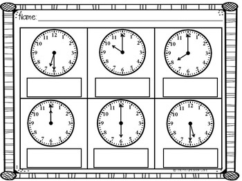 Telling Time to the Hour and Half Hour (Back to School)