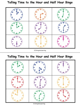 Telling Time to the Hour and Half Hour Bingo
