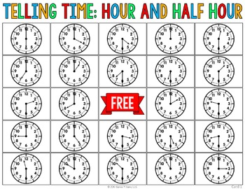 Telling Time to the Hour & Half Hour Activity: Telling Time Bingo Game (1.MD.3)