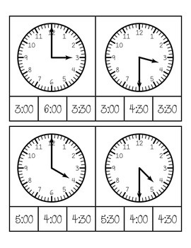 Telling Time to the Hour and Half Hour Clip Cards