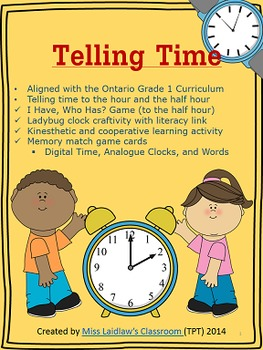 Telling Time to the Hour and Half-Hour {Games, Kinesthetic