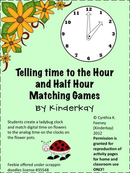 telling time to the hour and half hour matching game by kinderkay. Black Bedroom Furniture Sets. Home Design Ideas