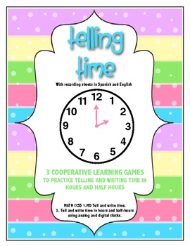 Telling Time to the Hour and Half Hour, Math Center for kg, 1st and 2nd grades
