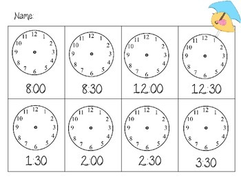 Telling Time to the Hour and Half Hour Math Station (Spring Theme)